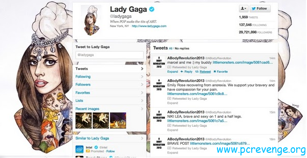 Lady Gaga raggiunge 30 milioni di followers su Twitter