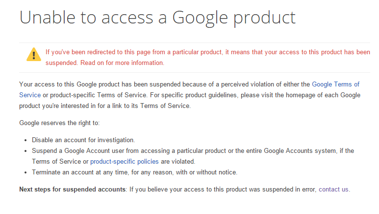 Notification of Google Play Developer Account Suspension
